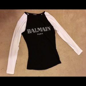 Worn Once Balmain Black and White Long Sleeve T 34